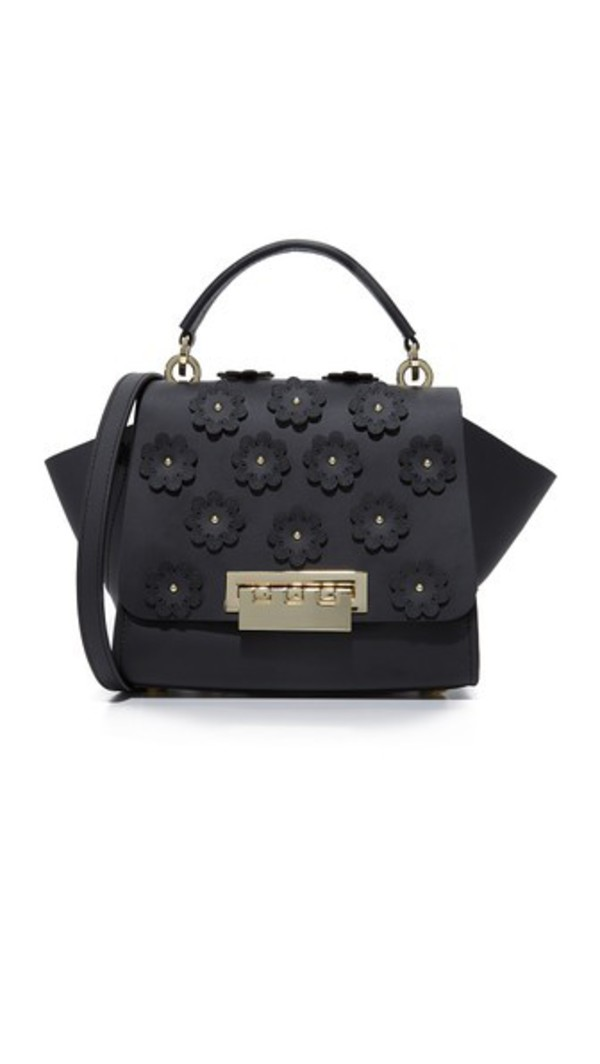 ZAC Zac Posen Floral Applique Eartha Iconic Top Handle Cross Body Bag in black