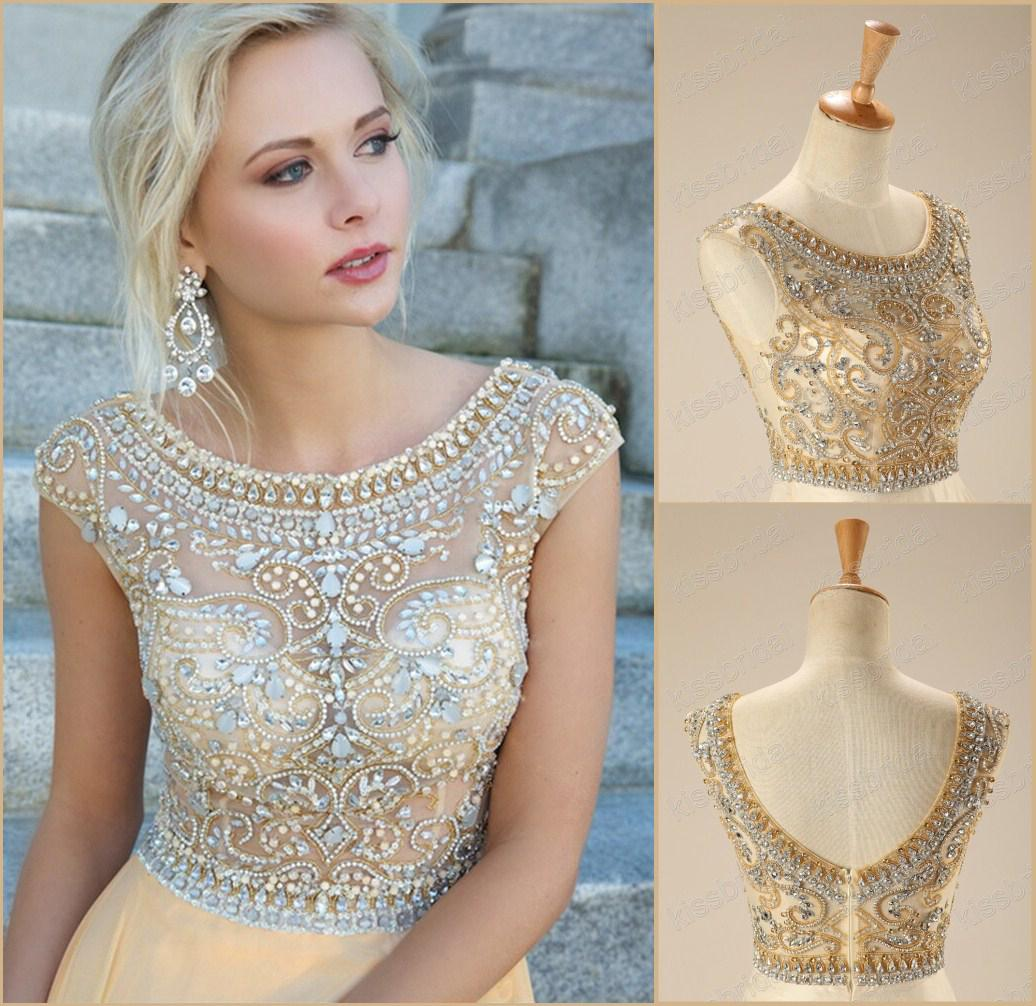 Discount 2015 Real In Stock Crystal Champagne Evening Dresses ...