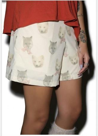 shorts girly boho fox cats