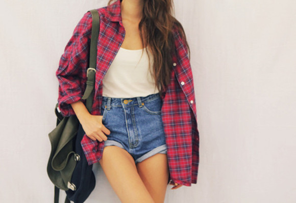 black bag jacket shorts checked shirt highwaisted denim shorts