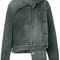 Balenciaga - pulled denim jacket - women - cotton - 38, black, cotton