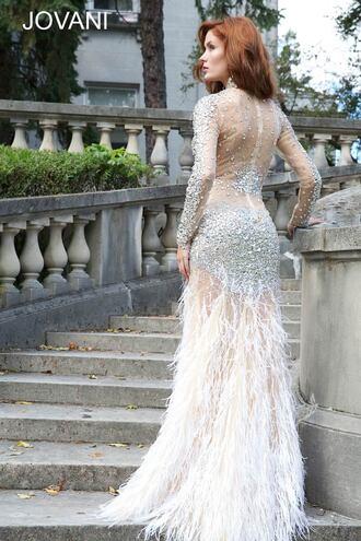 jovani feathers long prom dress silver