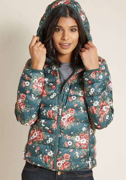 jacket puffer jacket floral