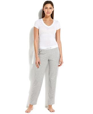 Calvin Klein Modern Cotton Logo Straight Leg Pajama Pants - Bras, Panties & Shapewear - Women - Macy's