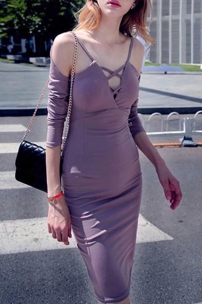 Dress Zaful Long Sleeve Dress Purple Purple Dress