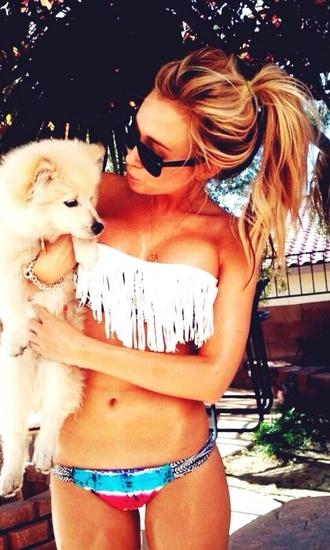 swimwear aztec white fringe bikini cute