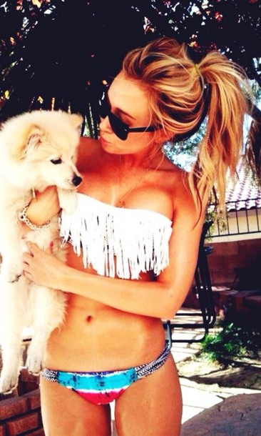 swimwear aztec swimwear white fringe bikini cute