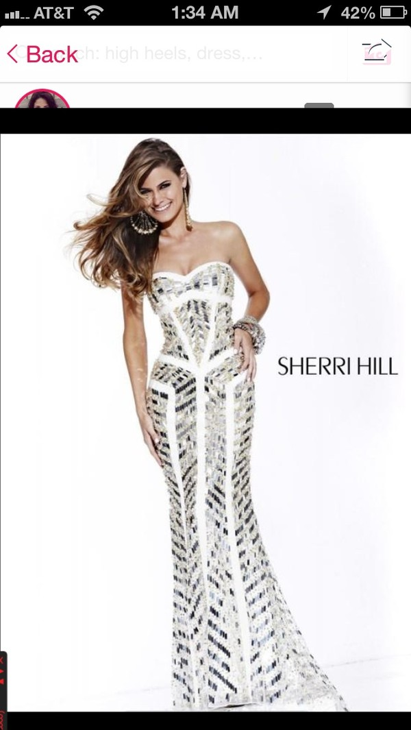 dress silver and white gown from sherri hill