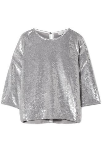 t-shirt shirt cotton t-shirt oversized silver cotton top