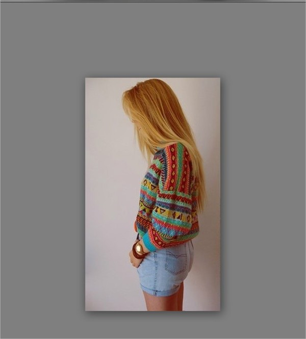 sweater tribal pattern hipster colorful aztec