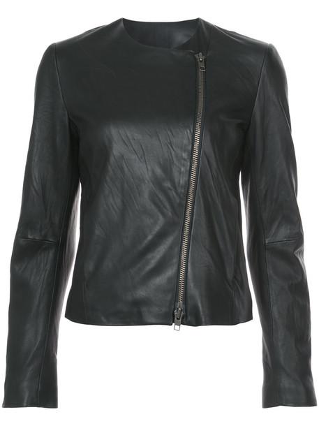 jacket zip women cotton black silk