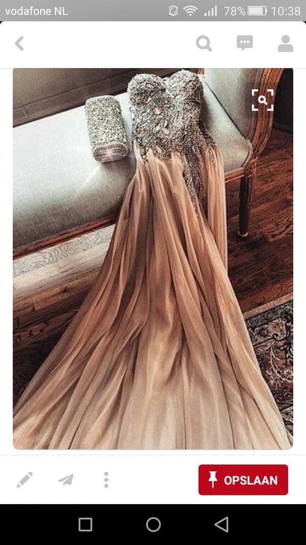 dress prom prom dress sparkly dress nude