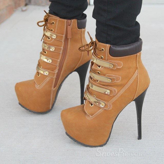 stylish laceup rivets decoration platform heels high