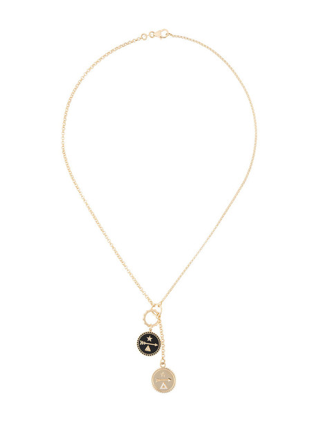 Foundrae women baby necklace gold grey metallic jewels