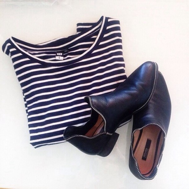 shoes black leather zip stripes white leather shoes