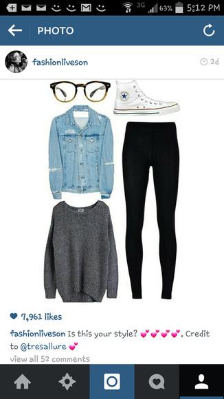 denim jacket gray sweater white converse