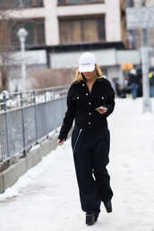 pants,nyfw 2017,fashion week 2017,fashion week,baggy pants,stripes,striped pants,jacket,black jacket,hat,cap,boots,black boots,platform boots