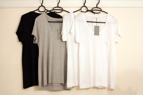 t-shirt grey grey t-shirt white black neckline black t-shirt white t-shirt