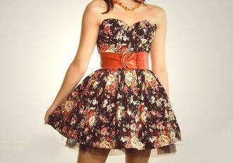 dress cute floral belt summer dress summer flowers black dress black trendy