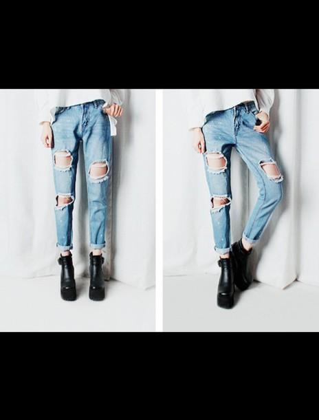 jeans destroyed boyfriend jeans clothes