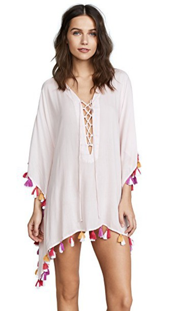 tunic tassel lace light pink light pink top