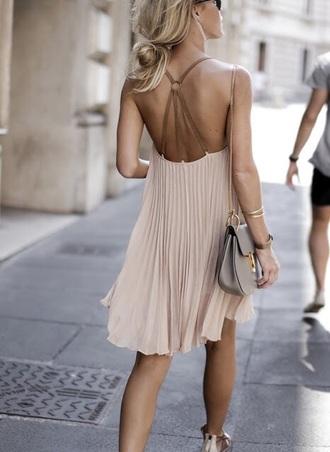 dress boho chic chiffon beige beige dress girly bag