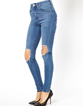 ASOS | ASOS Ridley Supersoft High Waist Ultra Skinny Jeans in Busted Blue with Busted Knee at ASOS