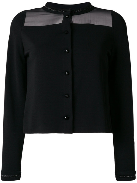 Emporio Armani cardigan cardigan sheer women spandex black silk sweater
