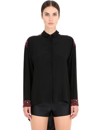 shirt embellished silk black red top