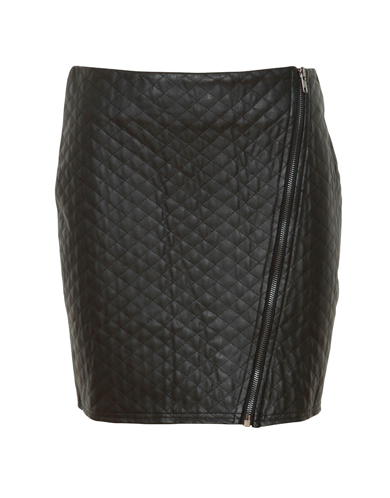 Parisian Zip Detail Leather Look Quilted Mini Skirt