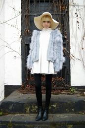 stella's wardrobe,blogger,fluffy,felt hat,light blue,blue jacket,white dress,skater dress