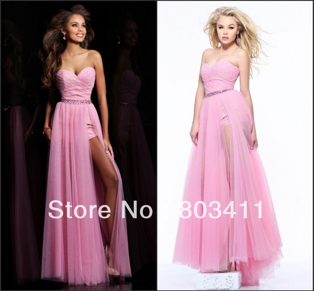 Free Shipping Strapless Sweetheart Neckline Beaded Belt High Low Tulle Prom Dress-in Evening Dresses from Apparel & Accessories on Aliexpress.com
