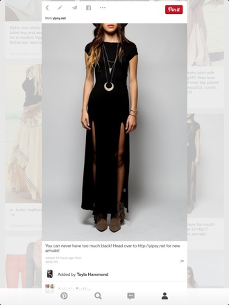 dress black dress slit dress cute dress boho dress jewels witch boho jewelry boho slit sides moon half moon silver neckles gypsy moon necklace necklace long dress double slit dress maxi dress crescent moon crescent pendant