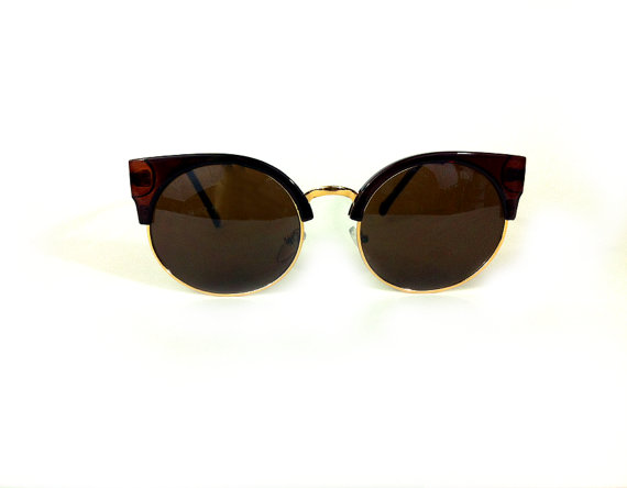 Retro Brown and Gold Cat Eye Sunglasses by ElectricWest on Etsy