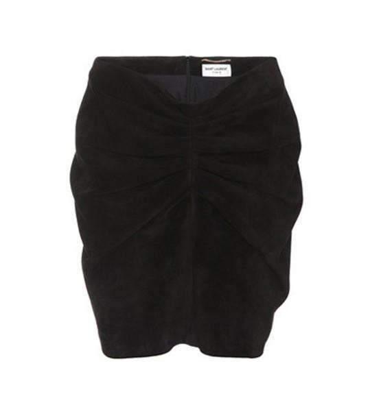 Saint Laurent Gathered suede miniskirt in black