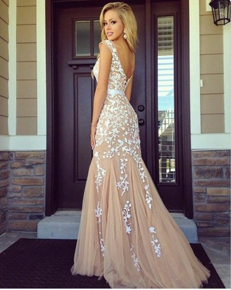 dress tan flowers white prom