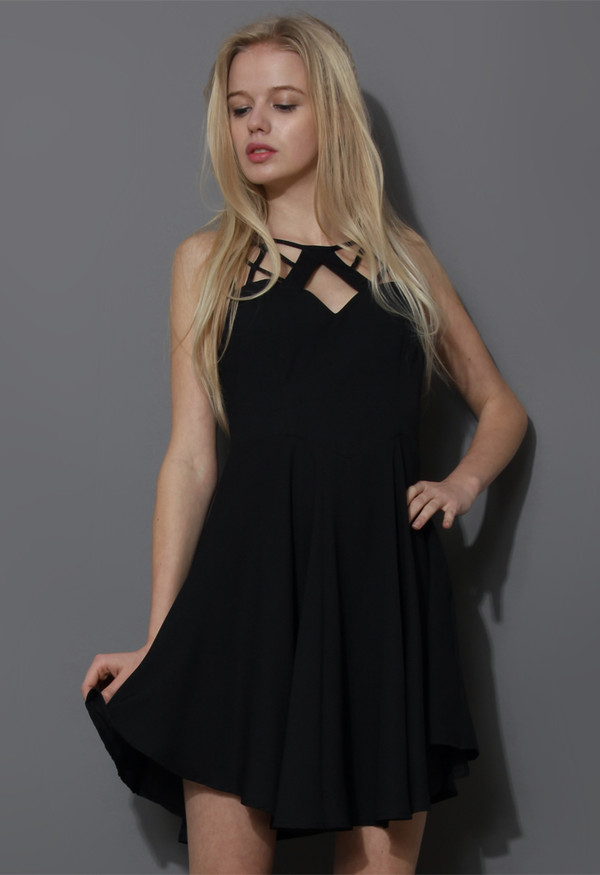 dress geo cut-out skater dress