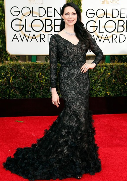 dress laura prepon Golden Globes 2015 black dress