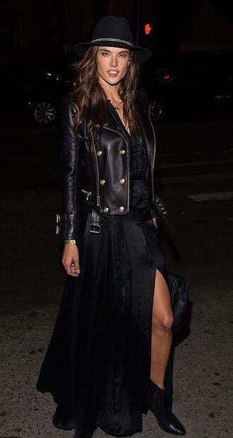 dress biker jacket alessandra ambrosio slit dress maxi dress all black everything