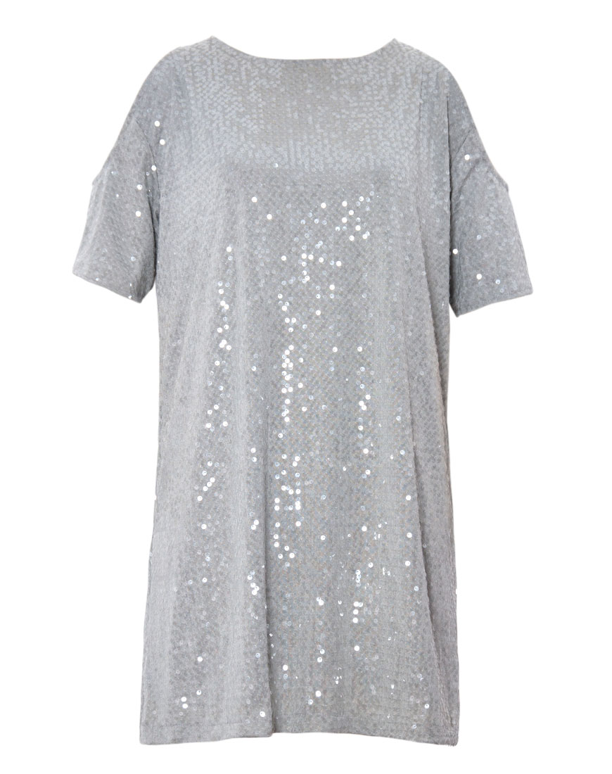 Motel savannah cold shoulder dress in jersey sequin grey