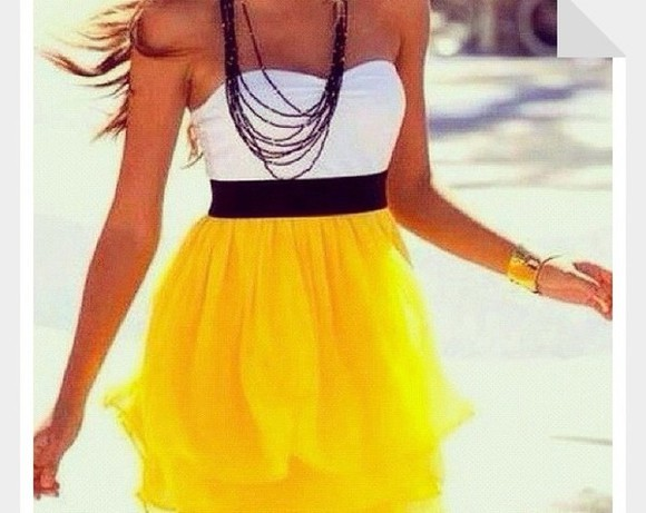 bright dress white black yellow