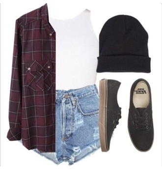 top flannel shirt beanie shorts hipster top