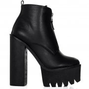 Bandit chunky cleated sole zip platform ankle boots black leather style p2182