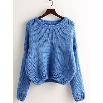 sweater blue rose wholesale baby blue knitwear cropped cute vintage fashion style long sleeves