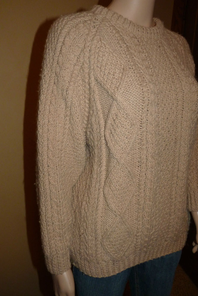 Wool Crafts Knit Fisherman Sweater Beige Ireland Wool Womens Petite M | eBay