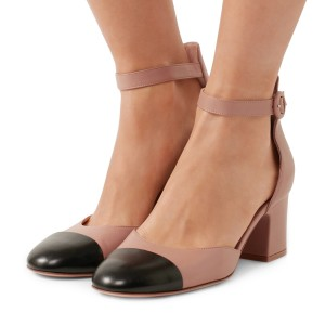 Women's Nude Ankle Strap Vintage Chunky Heels Pumps Shoes