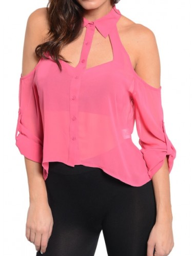 Pink Cut Out Sleeve Top | Clothing | Womens Clothing, Shoes, Jewelry & Plus Sizes | B. De'Lish