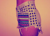 shorts,denim shorts,indie,tribal pattern