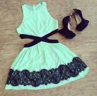 dress black lace mint black mint dress pastel dress