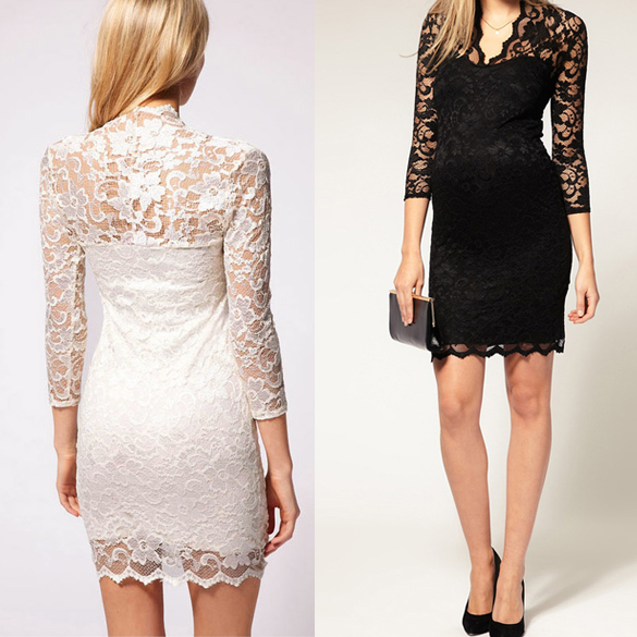 Lace Slim Flower V-Neck 3/4 Sleeve Dress - iNDULGE in Fashion, LLC